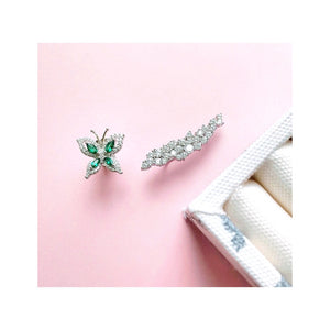 Green Butterfly Mismatch Earrings/925S