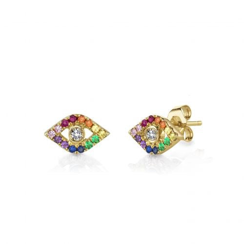 Rainbow  Evil Eye Stud Earrings/S925