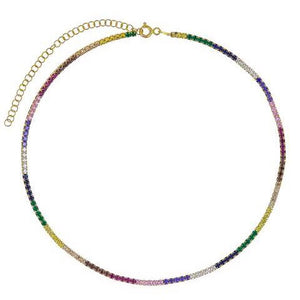 Rainbow Tennis Choker Necklace/S925