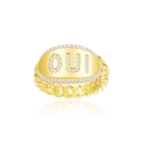 Word Yellow Silver Ring/S925