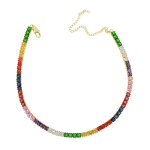 Rainbow Square Tennis Necklace