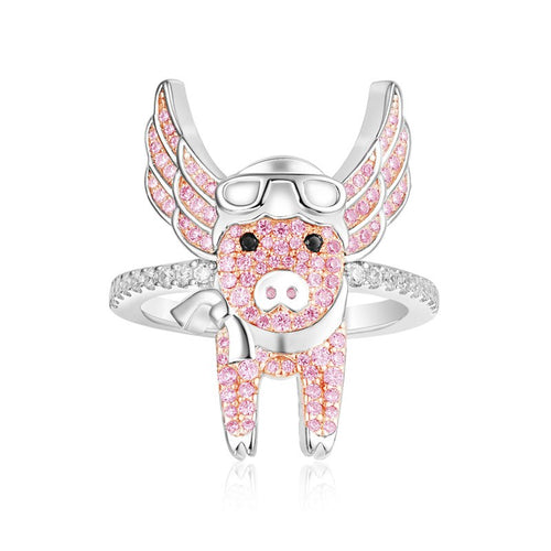 Flying Pink Piggy Ring/SS925