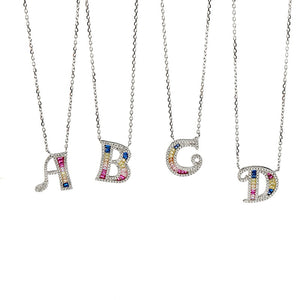 Rainbow Alphabet Necklace/S925