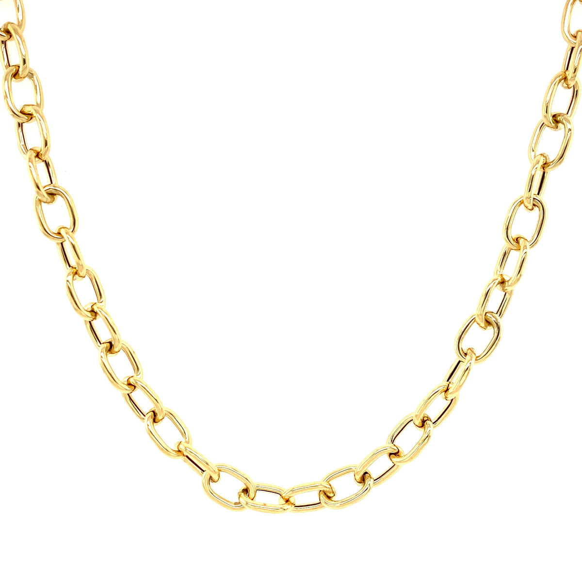 14K Gold Oval Link Chain Necklace Izakov Diamonds + Fine Jewelry