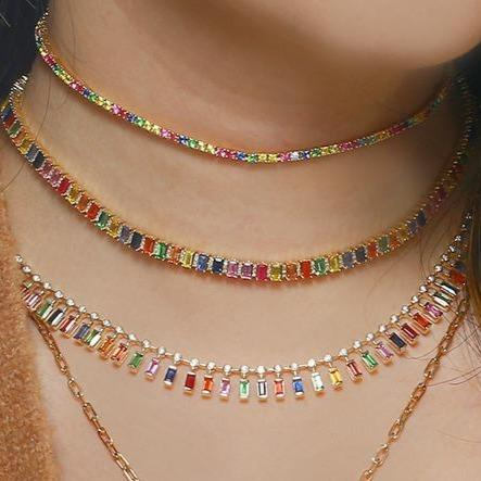 Rainbow Baguette Gemstones Necklace