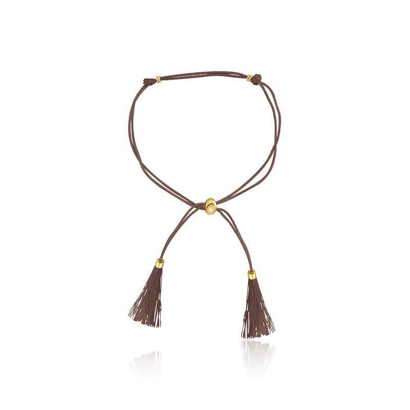 18K Gold Brown Silk Tassel Charm Bracelet