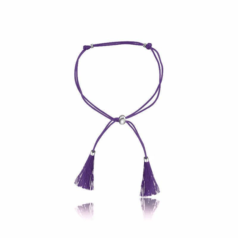 18K Gold Purple Silk Tassel Charm Bracelet