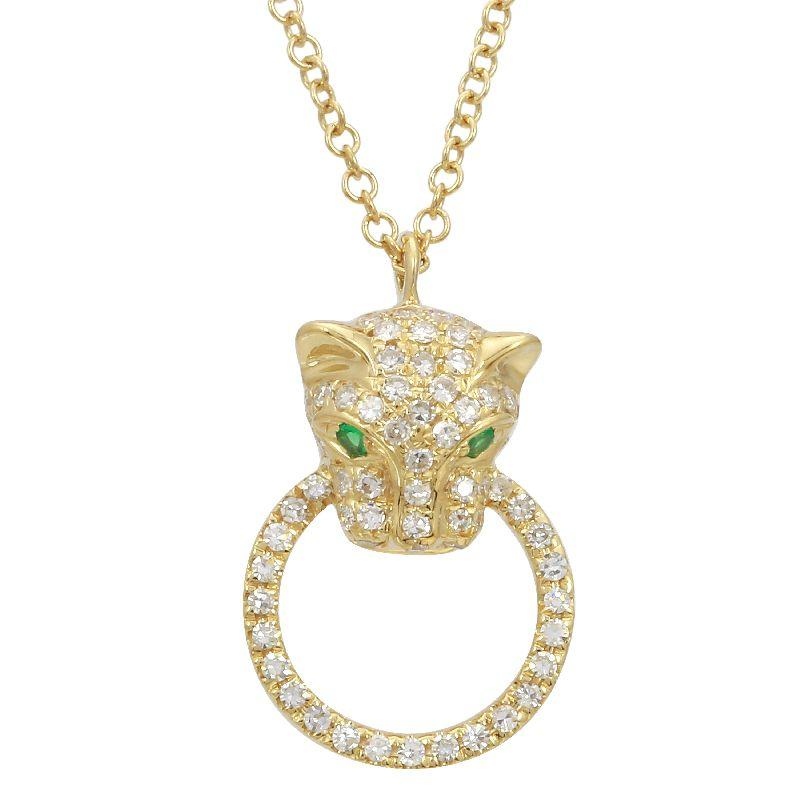Diamond Panther Door Knocker Pendant Necklace
