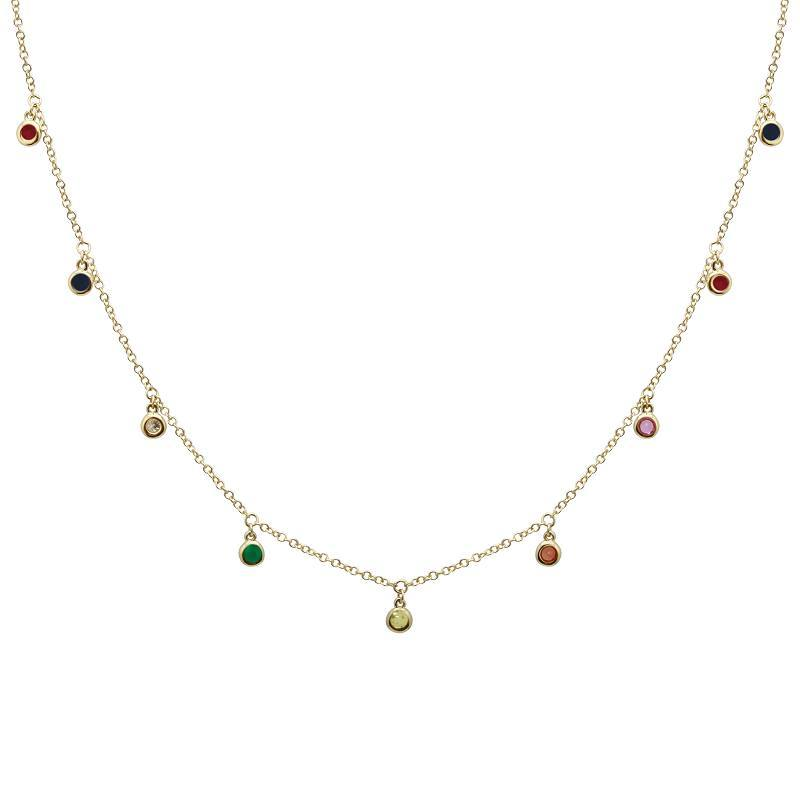 Diamond Pave Dangling Rainbow Drops Necklace