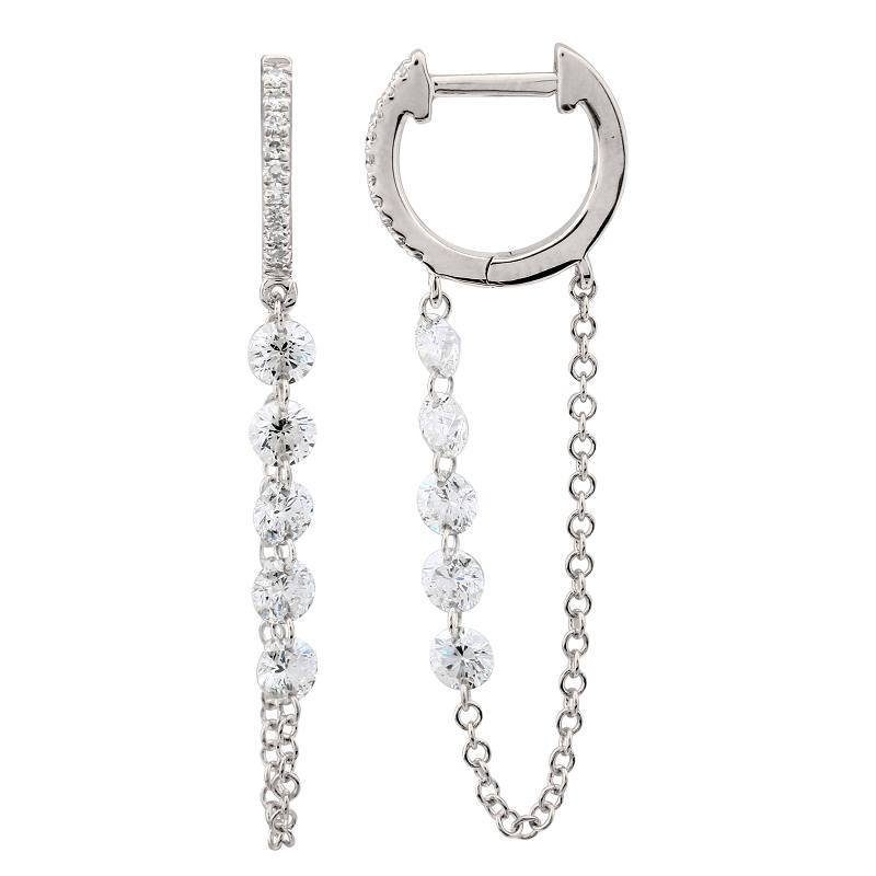 Floating Diamond Chain Pave Huggie Earrings