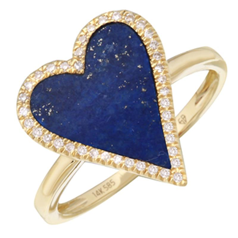 Halo Diamond Lapis Skinny Heart Ring