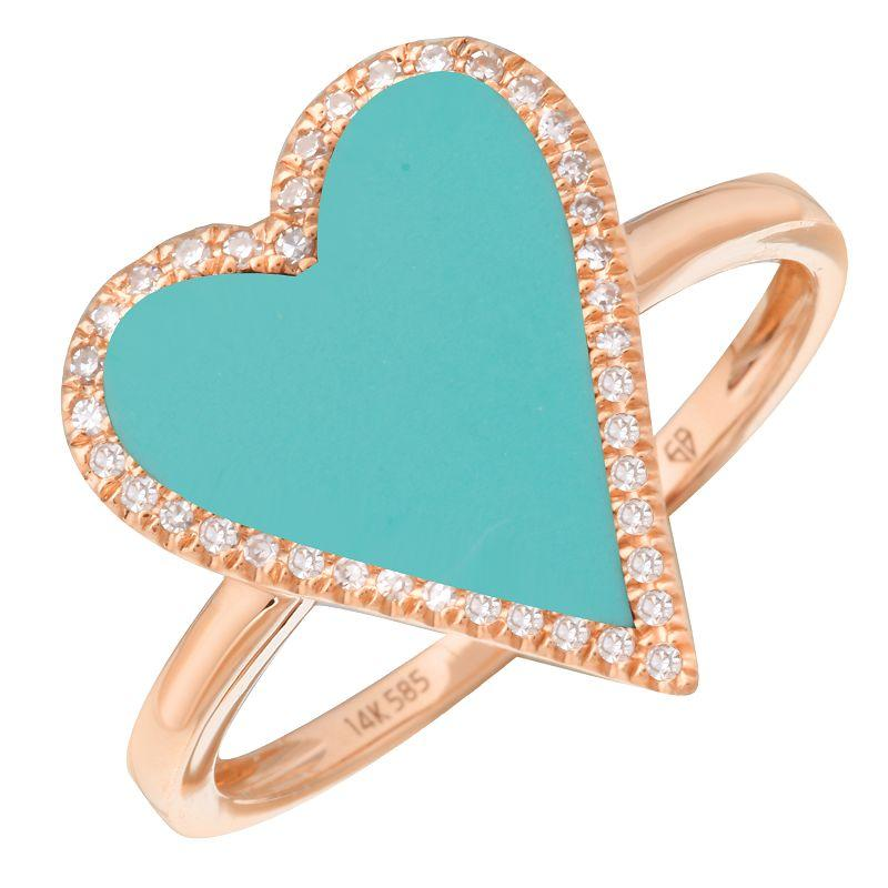 Halo Diamond Turquoise Skinny Heart Ring