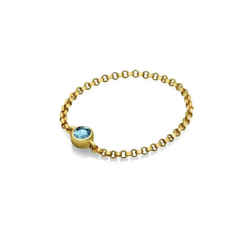 March Birthstone Aquamarine Chain Ring