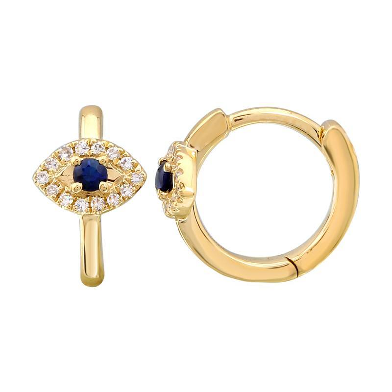 Micro Pave Diamond Blue Evil Eye Huggies Yellow Gold Izakov Diamonds + Fine Jewelry VI