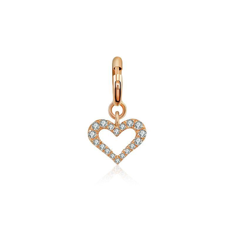 Open Heart Diamond Bracelet Charm