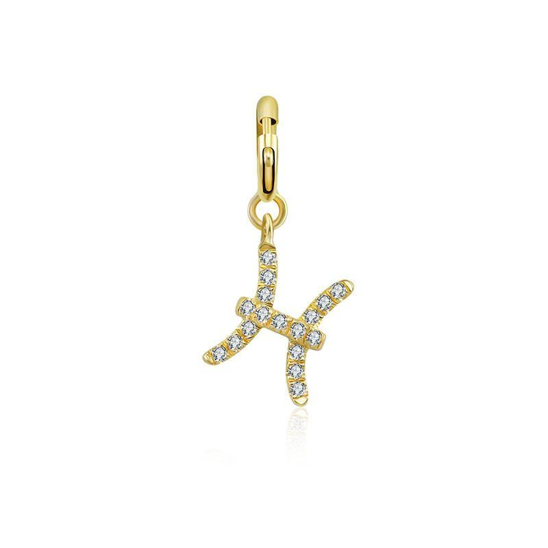 Pisces Zodiac Sign Diamond Bracelet Charm
