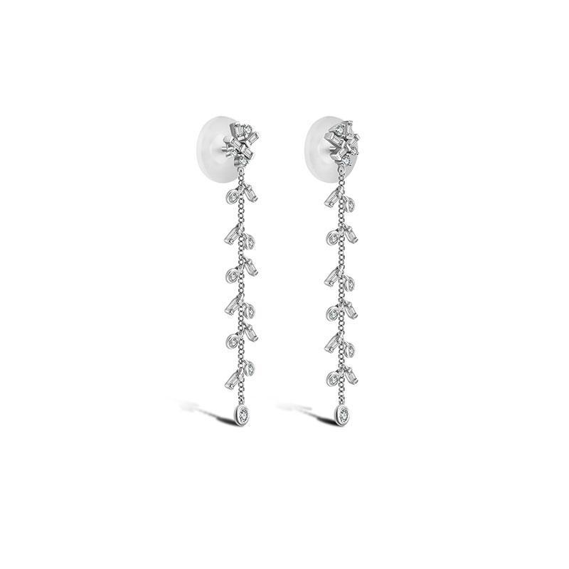 Weeping Willow Dangle Diamond Earrings