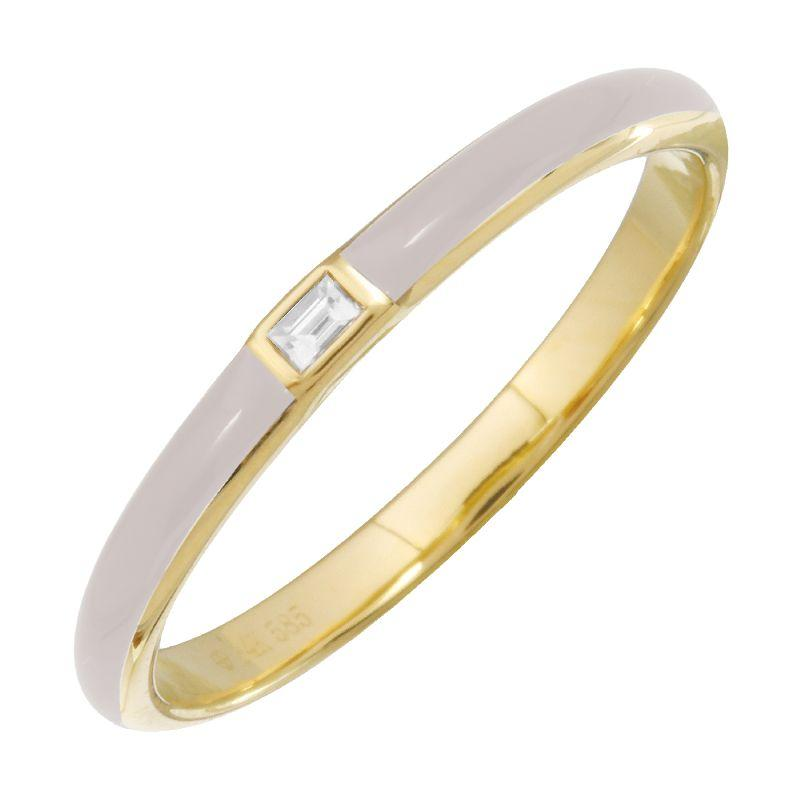 White Enamel Baguette Diamond Ring