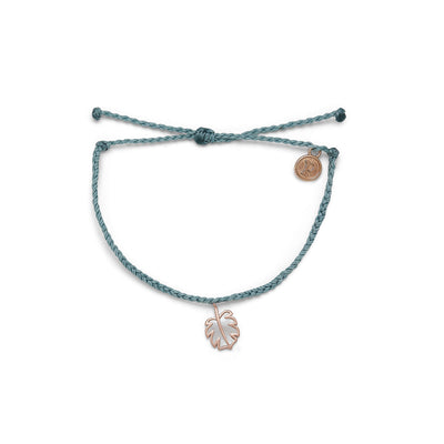 Mother of Pearl Monstera Rose Gold Bracelet - Smoke Blue