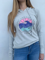 Gypsy Life Surf Shop - OG Purple and Pink Logo - Cozy Vintage Hooded Pullover - Light Grey - Alternative
