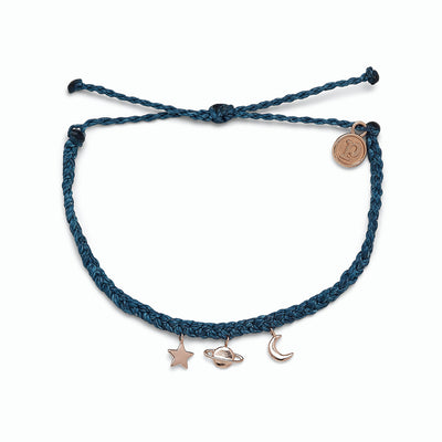 Cosmic Charms Rose Gold Charm Bracelet - Stormy Blue