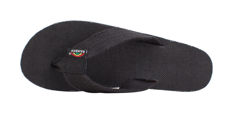 Men's Single Layer Classic Black Hemp with Rasta Mid Sole - Black