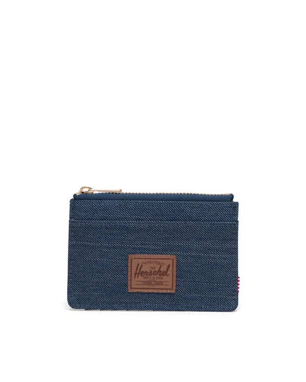 Oscar Wallet - Indigo Denim Crosshatch/Saddle Brown