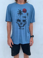 Gypsy Life Surf Shop - Mens Triblend Tee - Cocoon Beach/Palms - Glacier