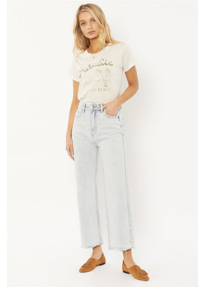 Gabi Crop Flare Woven Denim - Sunfade Wash