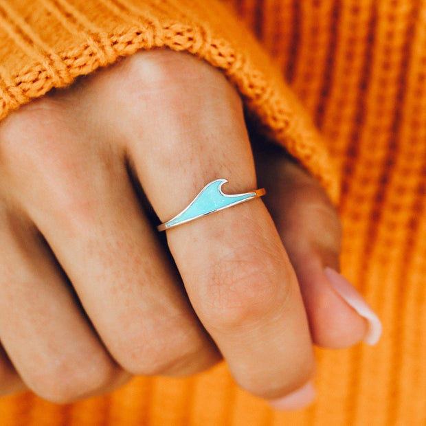 Mother of Pearl Wave Stacking Ring - Silver