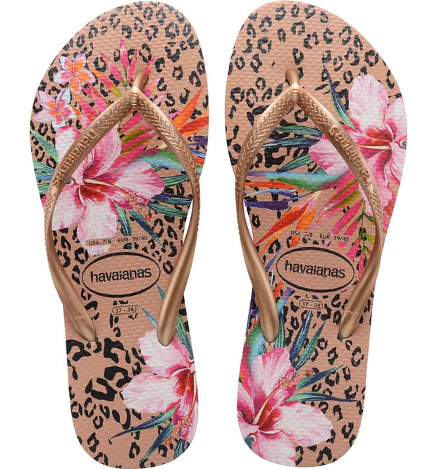 Slim Animal Floral Flip Flop - Rose