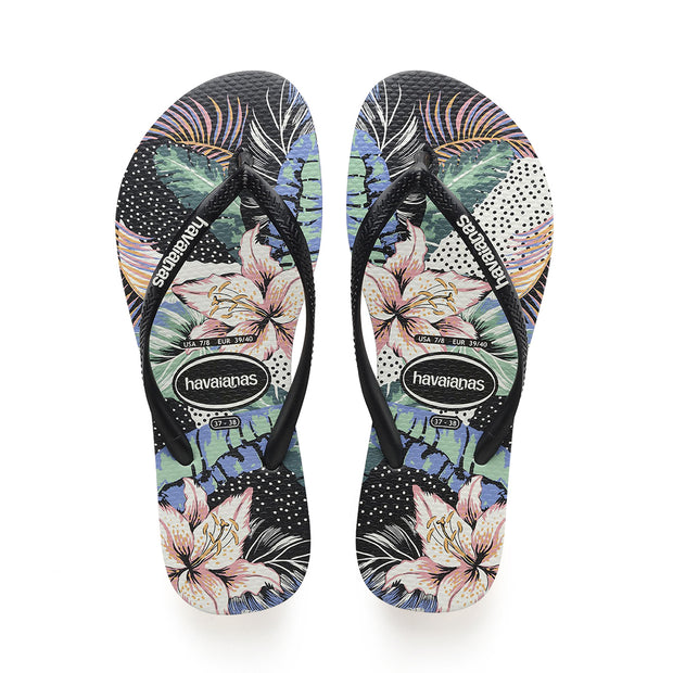 Slim Animal Floral Flip Flop - Black