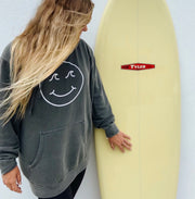 Gypsy Life Surf Shop - Smiley Face Pigment Dyed Hooded Sweatshirt - Black