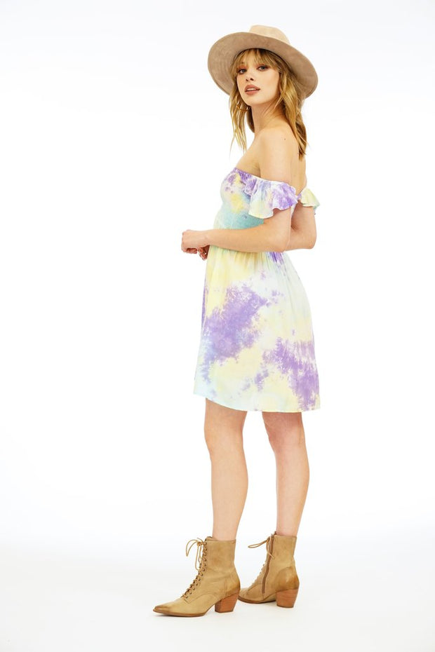Hollie Dress Short Dress- Aqua/Yellow/Violet Smoke