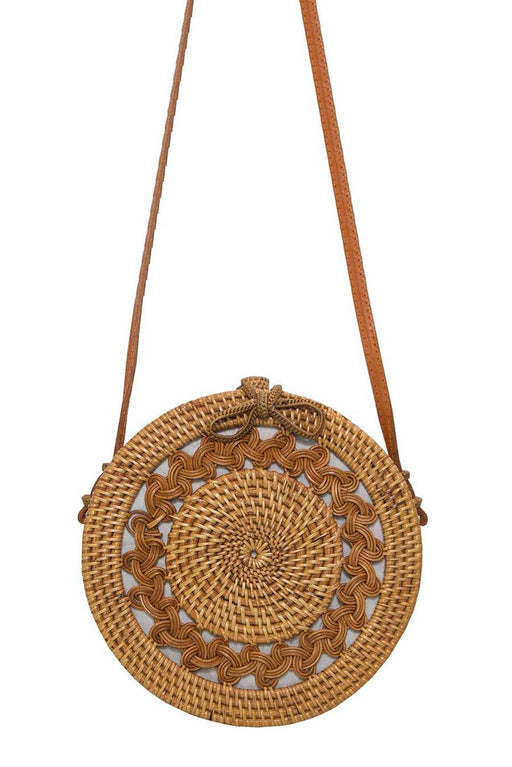 Round Rattan Bag with Woven Detail