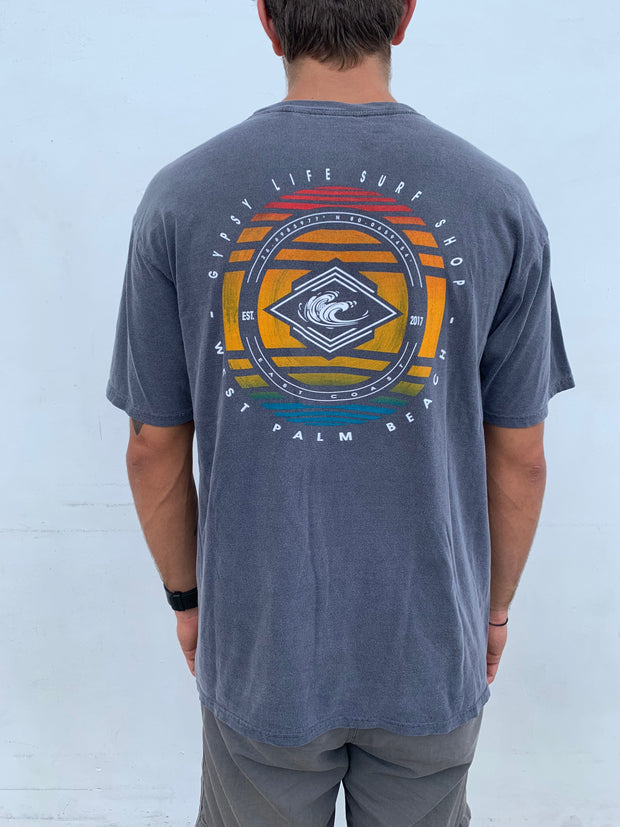 Gypsy Life Surf Shop - Dyed Ringspun Tee - Implement Waves - Black