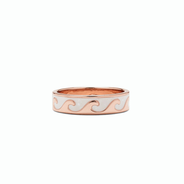 Reversible Mother of Pearl Wave Ring - Rose Gold