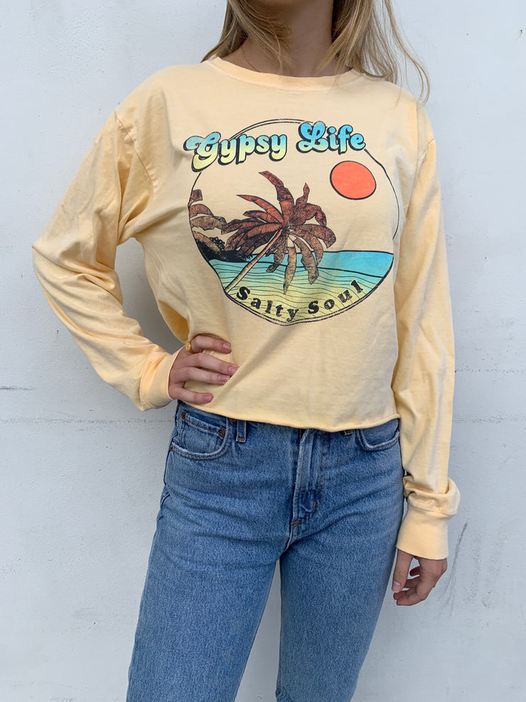 Gypsy Life Surf Shop - Cropped Ringspun L/S Tee - Ferngully Beach/Palms - Butter