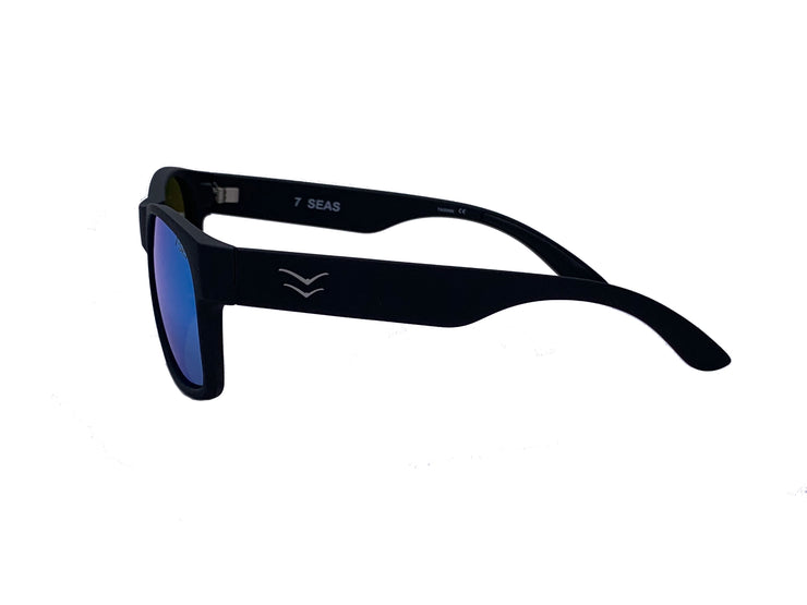 7 SEA'S - Black Rubber - Ice Blue Mirror - Polarized Lens