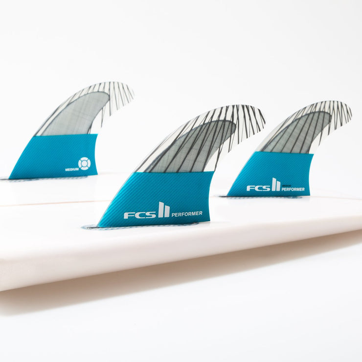 FCS II Performer PC Carbon Medium Tri Fins - Teal
