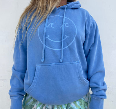 Gypsy Life Surf Shop - Smiley Face Pigment Dyed Hooded Sweatshirt - Light Blue