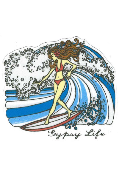 Gypsy Life Surf Shop Sticker - Girl Surfing Wave
