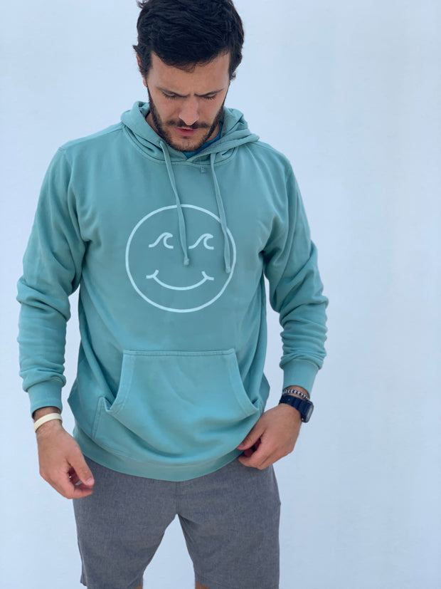 Gypsy Life Surf Shop - Smiley Face Pigment Dyed Hooded Sweatshirt - Mint