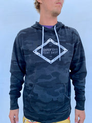 Gypsy Life Surf Shop - Coffee Corner Logo - Long Sleeve Hoodie - Black Camo - Independent