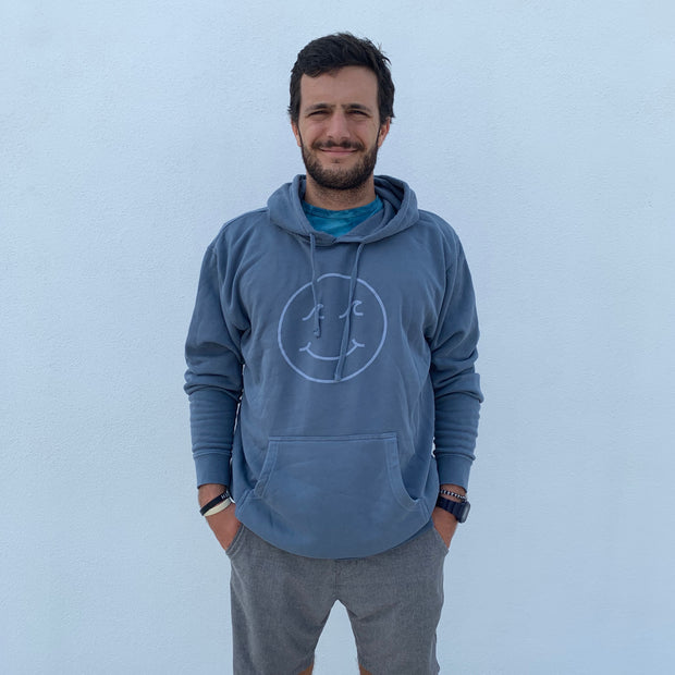 Gypsy Life Surf Shop - Smiley Face Pigment Dyed Hooded Sweatshirt - Blue
