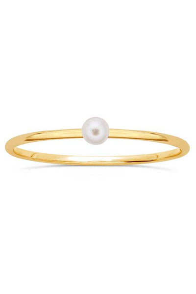 Gypsy Life White Swarovski Pearl Stacking Ring - Yellow Gold-Filled - 3mm