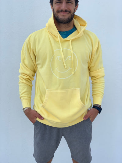 Gypsy Life Surf Shop - Smiley Face Pigment Dyed Hooded Sweatshirt - Yellow