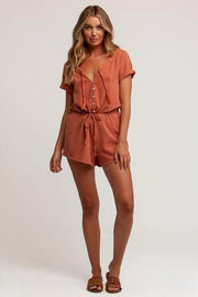 Ella Button Front Romper - Toffee