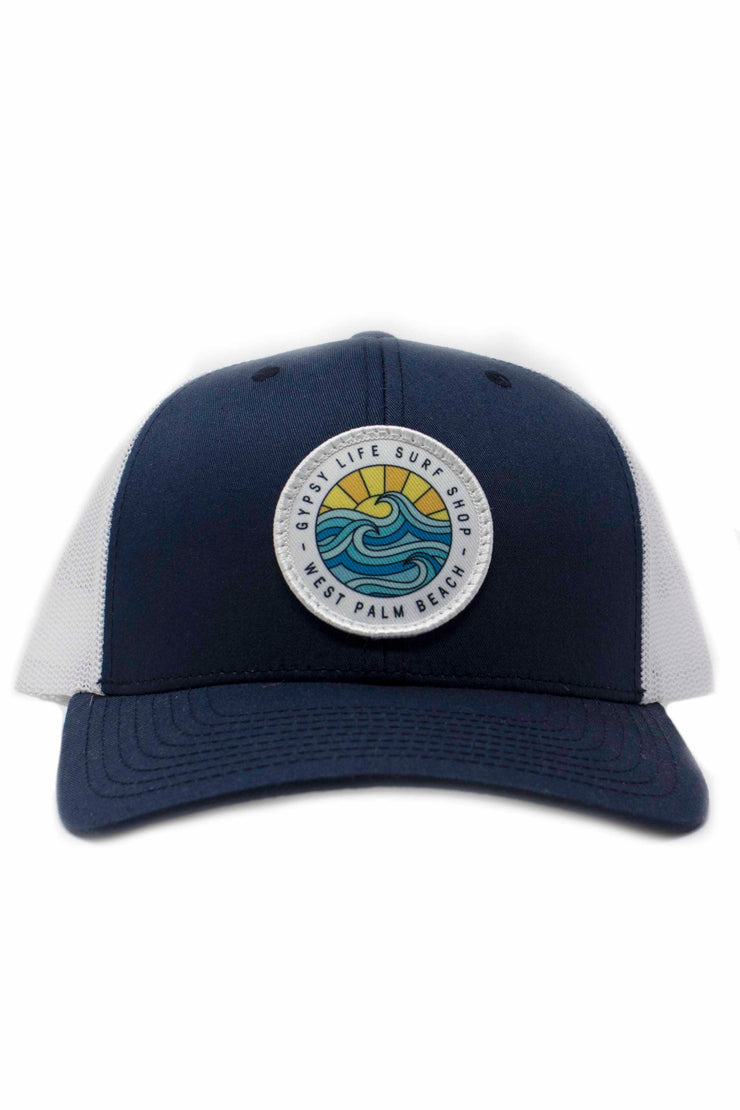 Gypsy Life Surf Shop Hat - Navy/White with White Trim on Logo