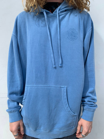GLSS - Gypsy Life Surf Shop - OG Logo - Heavyweight Pigment Light Blue Dyed Hooded Sweatshirt